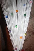 Шторы нити  Белые с  радужными алмазными бусинами, фото 1
