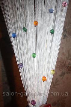 Штори нитки Білі з райдужними алмазними намистинами