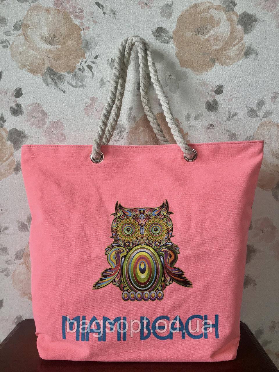 Ярко-розовая пляжная сумка с канатными ручками принт Сова