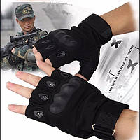 Перчатки Oakley тактические вело мото военные туристические без пальцев Черные