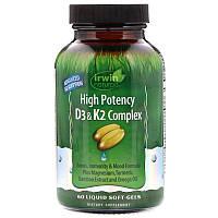 Irwin Naturals, Мощный комплекс витаминов D3 и K2, 60 мягких таблеток с жидким содержимым