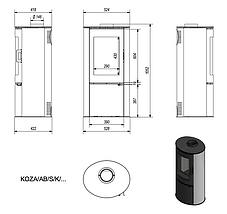 Печь камин KRATKI Koza AB/S/K DR с белыми кафельными панелями до рекуперации, фото 3
