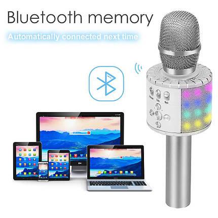 Bluetooth микрофон для караоке с подсветкой M+ MK2L Silver, фото 2