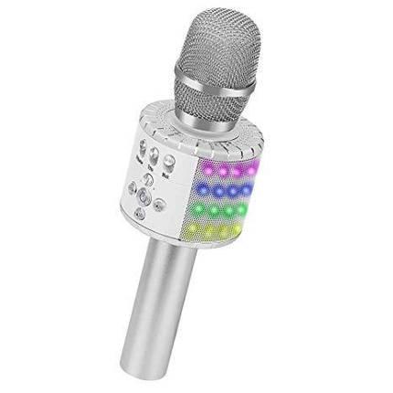 Bluetooth микрофон для караоке с подсветкой MUSIC STAR MK2L Silver, фото 2
