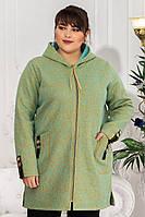 Женское пальто на змейке с капюшоном  батал размеры 50-64 цвет салатовый