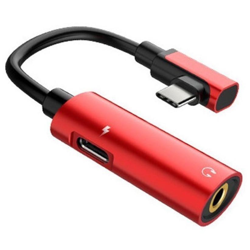 Адаптер-Переходник Type-C для зарядки телефона и подключения наушников Mini Jack 3.5мм LA002 Red