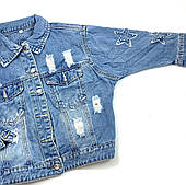 Джинсовая куртка оверсайз для девочки Resser Звезда 1212 (р.8,9,10,11,12,13 лет)