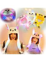 Шапка заяц со светящимися ушками которые двигаются, детская шапка, фото 1
