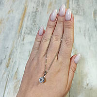 Підвіска камінчик, Колір: Срібний, Цирконій, Мідь, 39 см ланцюжок, фото 1