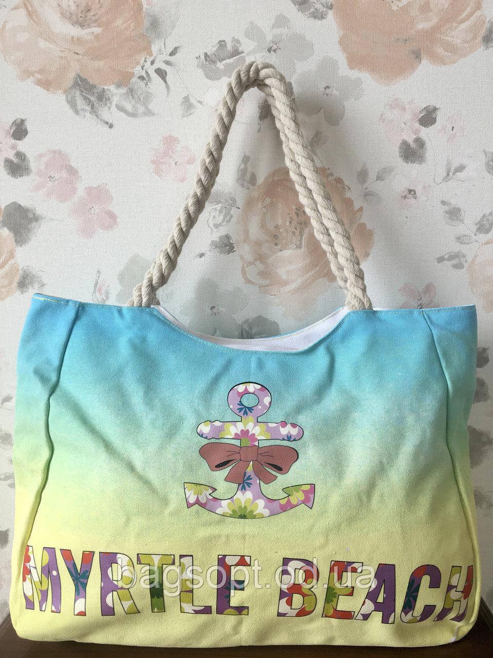 Молодежная яркая пляжная сумка с канатными ручками принт Сова