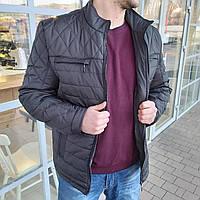 Куртка мужская стеганная 54 размер | Демисезонная мужская куртка - ветровка | наполнитель синтепон