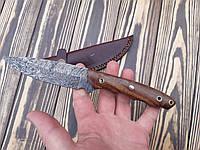 Нож охотничий из дамасской стали ds-124 +кожаный чехол С
