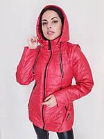 Стильная красная синяя молодежная демисезонная куртка с капюшоном оптом