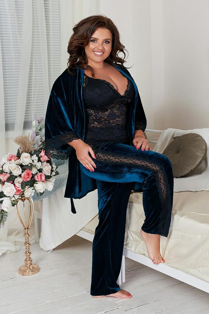 Пижама тройка:халат, штаны, майка большие размеры.
