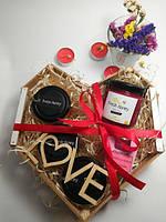 Подарочный набор №12 из 4х баночек крем-меда и арома свеча подарок парню День Святого Валентин 14 февраля