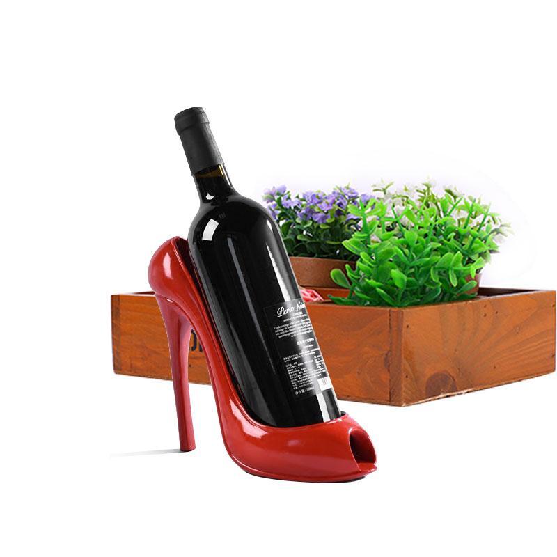 Креативная подставка держатель для вина в виде туфли на высоком каблуке, красная