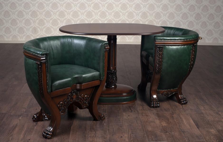 Комплект мягкой мебели Тет-а-Тет (два кресла со столиком) кожа Курьер