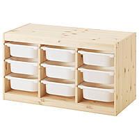IKEA Комбинация для хранения TROFAST (ИКЕА ТРУФАСТ) Стеллаж с контейнерами, сосна светлая
