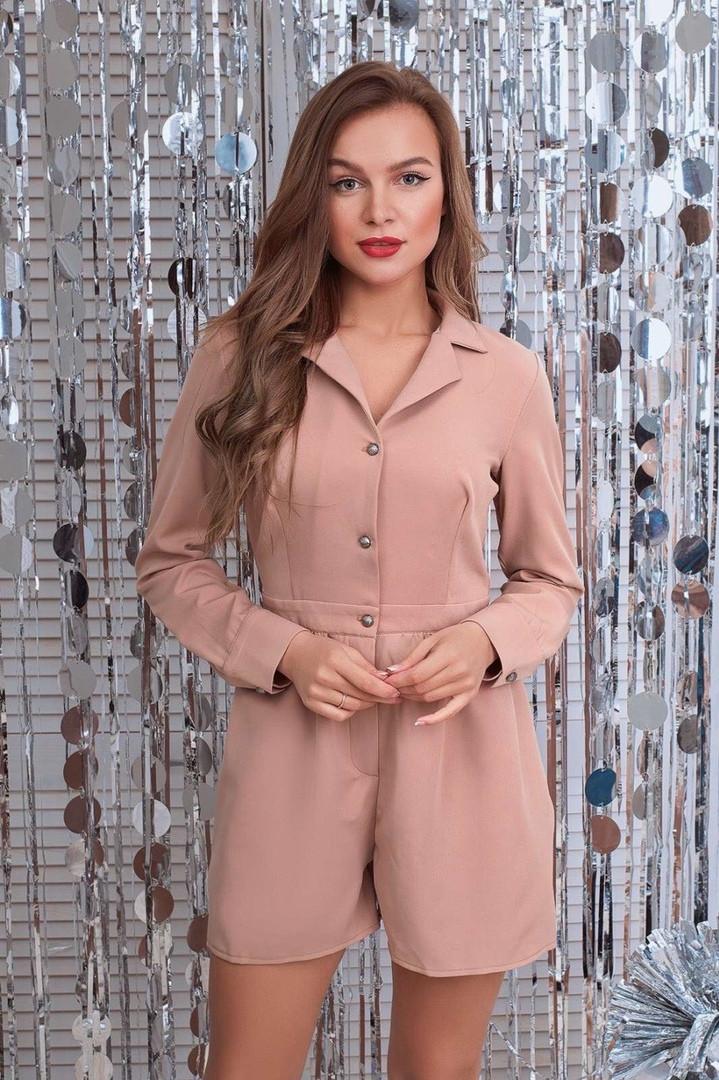Стильный женский комбинезон шортами длинный рукав