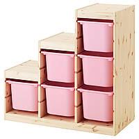 IKEA Комбинация для хранения TROFAST (ИКЕА ТРУФАСТ)  691.021.24 Стеллаж, сосна светлая сосна × белый,