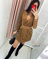 Платье-пиджак женское вельвет кэмэл, чёрный