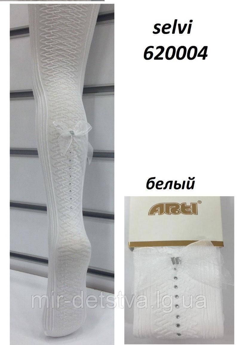 Нарядные белые колготки для девочек TM Katamino оптом, Турция р.5-6 (110-116 см) бантик сзади
