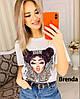 Стильная женская футболка из хлопка, фабричный Китай (42-46)