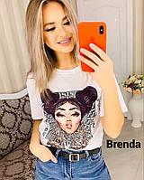 Стильная женская футболка из хлопка, фабричный Китай (42-46), фото 1