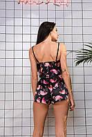 Шёлковая женская пижама. Комплект. Фламинго, чёрная!, фото 4