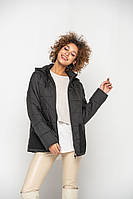 Модная черная куртка удобного пошива 46-58