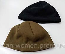 Зимняя теплая шапка, шерпа (флис с мехом) - черная, койот.