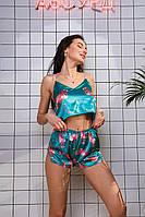 Женские Шелковые пижамы. Комплект шорты + майка. Фламинго, зеленая, фото 2