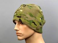 Зимняя теплая шапка с подкладкой. Цвет - мультикам., фото 1