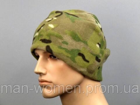Зимняя теплая шапка с подкладкой. Цвет - мультикам.