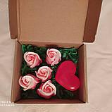 """Мыльный букет ручной работы """"Розы с сердцем"""", фото 2"""