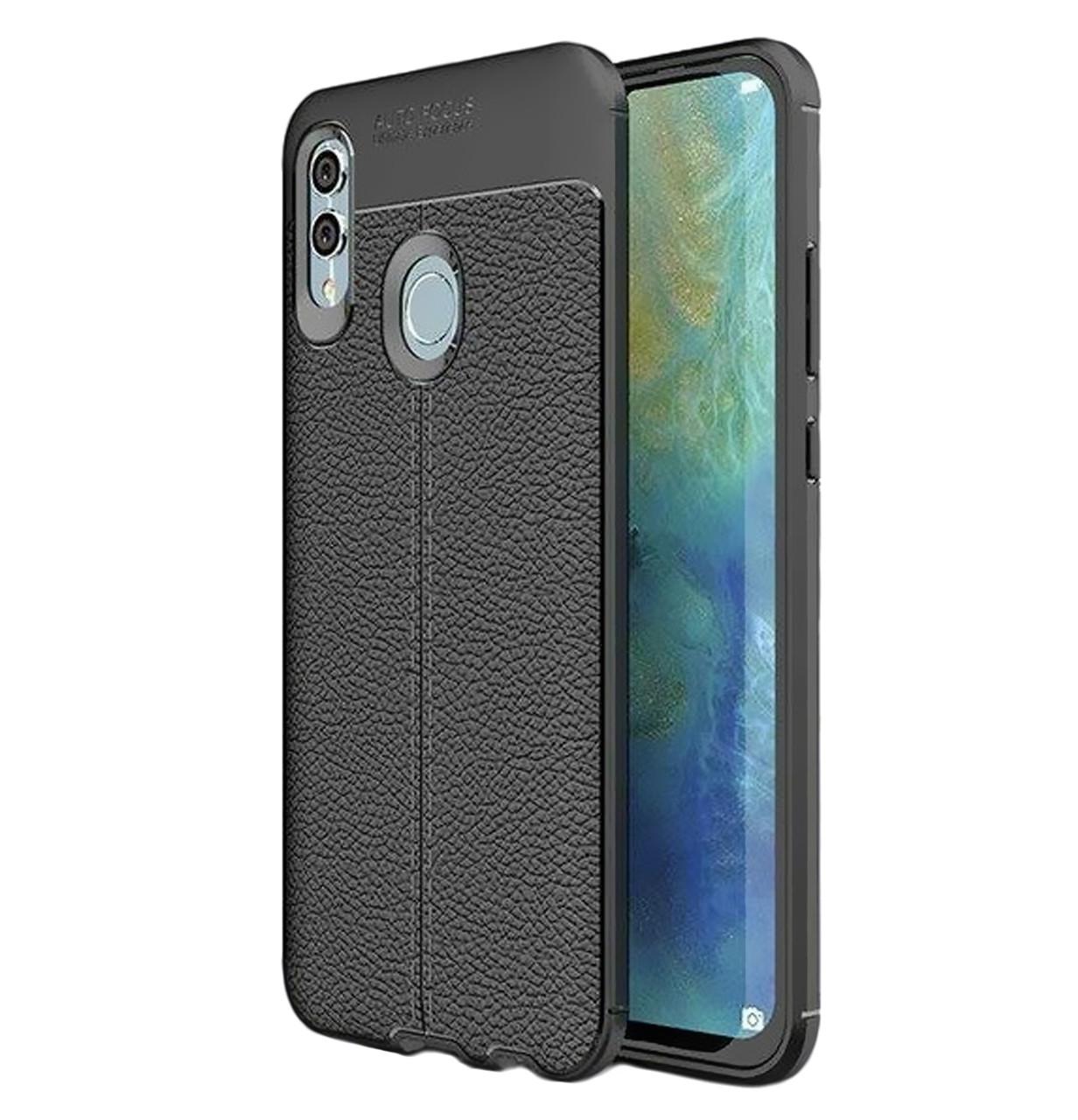 Противоударный TPU чехол фактурный (с имитацией кожи) для Huawei P Smart (2019) / Honor 10 Lite Black