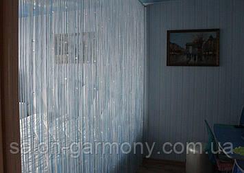 Штори нитки Срібло з алмазними прозорими намистинами