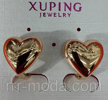 Серьги 543. Маленькие серёжки сердце. Классические серьги Xuping.