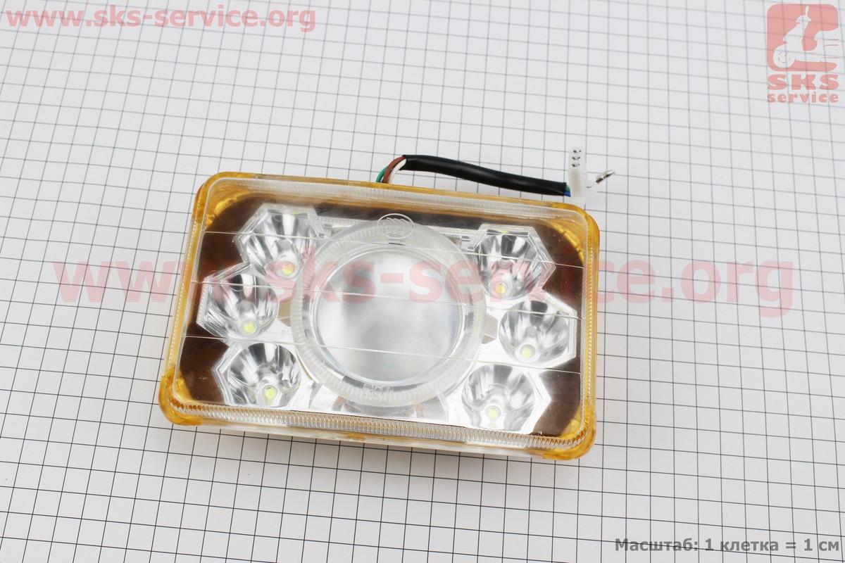 Фары квадратной передняя часть 6+1-LED линза с ободком, 165*105мм, TUNING