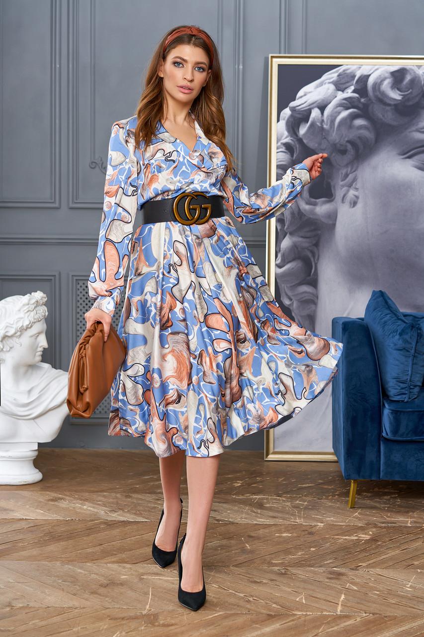 """Сногсшибательное платье отJadone Fashion """"Агата"""" шелковое с принтом (2 расцветки, р.S-XL)"""