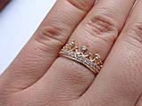 Золотое кольцо в виде короны с белыми камнями, фото 10