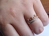 Золотое кольцо в виде короны с белыми камнями, фото 7