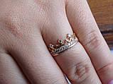 Золотое кольцо в виде короны с белыми камнями, фото 2