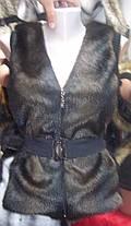 Меховая  жилетка  с довязом мысик, фото 3