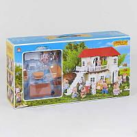 """Домик """"Счастливая семья"""" 012-01 мебель, 2 фигурки, подсветка"""