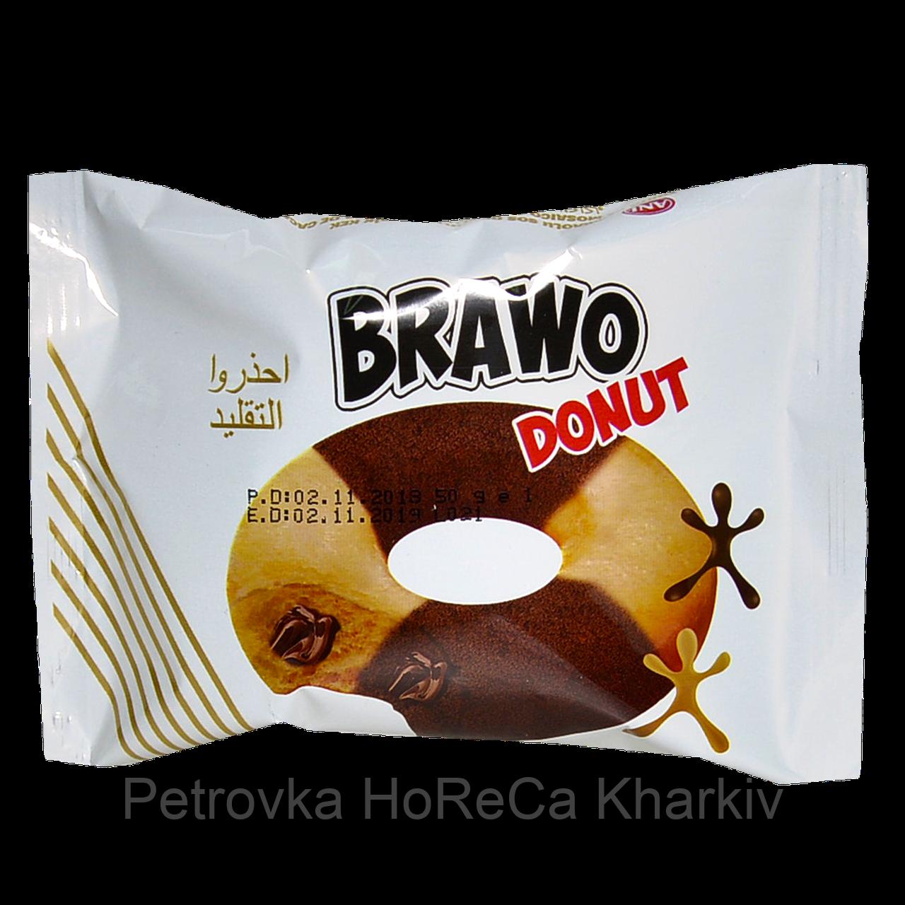 Кекс Brawo Donut мармуровий з начинкою какао 50г 1уп/24шт
