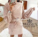 """Вельветовое женское платье с пояском """"Monica"""".Распродажа, фото 3"""