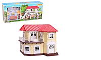 Двухэтажный дом Счастливая семья Happy Family 012-01 свет, мебель, 2 фигурки аналог Sylvanian Families