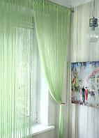 Нитяные шторы кисея Дождь салатовые (15), фото 1