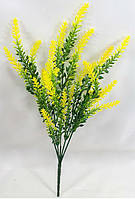 """Искусственный куст """"цветная лаванда 33см"""",цвет зеленый с желтым, фото 1"""